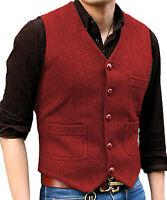Men's Vest Formal Business Waistcoat Herringbone suit Vest Wool/Tweed Groomsmen