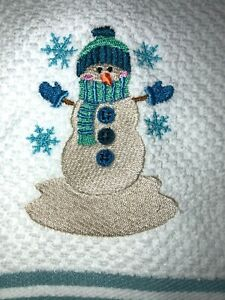 Embroidered WHITE Kitchen Hand Towel SNOWMAN  Hat  Mittens Snowflakes Christmas