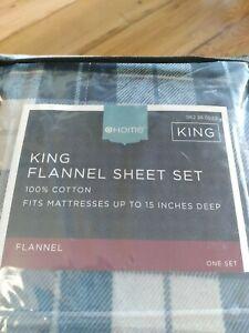 King-Target-Flannel-King-Set-100% Cotton- Blue Plain NEW in pkg.