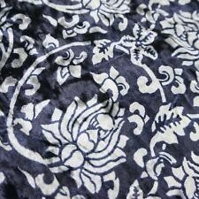 Navy Blue Stretch Velvet Fabric with Silver Floral Pattern (Per Metre)