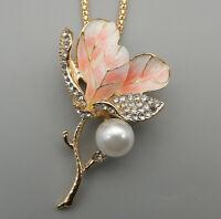Betsey Johnson Pink/Purple White Enamel Crystal Flower Pendant Necklace/Brooch