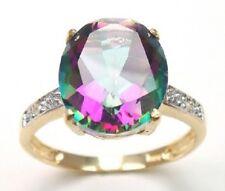 10K GOLD 4.0 CARAT NATURAL  MYSTIC TOPAZ & NATURAL DIAMOND RING