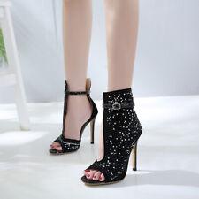 Ladies Rhinestone High Stiletto Heel Shiny Sandals Boots Sexy Slim Club Party Sz