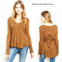 Camel BOHO Bohemian Knit Cascade Ruffle Lace up Flare Tunic Sweater Top S M L XL