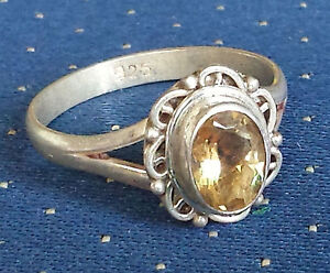 Sterling Silver Ethnic Asian Vintage Style Yellow Quartz Ring Size P 1/2 Gift