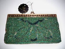 GOLDEN CROWN ORNATELY BEADED CLUTCH PURSE WITH SHOULDER STRAP