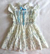 Vtg JC Penney Girls 4 Off White Blue Smocked Lace Floral Ruffle Dress Portrait
