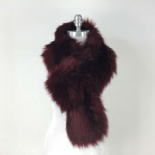 Helen Moore Anthropologie England Burgundy Red Faux Fur Scarf loop Excellent