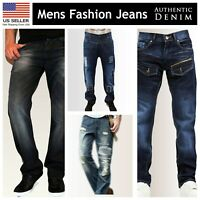 Mens Regular Fit Faded Ripped Jeans Straight Leg Distressed Denim Trousers