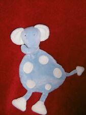 Doudou Grelot Elephant BABYSUN BABY SUN Plat Bleu Pois Blanc TTBE