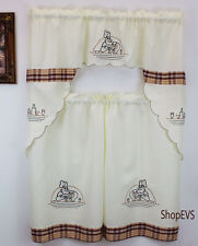 Checkered Chef Kitchen Curtain with Swag and Tier Set 36 in