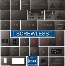 BG Nexus Black Nickel Screwless Flatplate Switches & Sockets Black Inserts