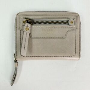 Fossil women's grey leather zip around I'd card small wallet