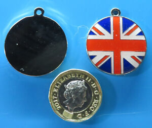 Expressions Engravers 28mm round Enamelled Union Flag  pet/dog tag