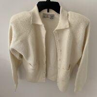 NWT LIZ CLAIBORNE Women White Wool Blend Button Down  Cardigan Sweater Size S