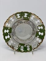 Fred Roberts Co San Francisco Made Japan Pierced Saucer Iridescent Pearl Green