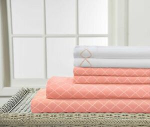 90GSM Revina Sheet Set with Print-Embroidered - FULL - APRICOT