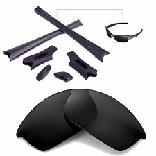 Walleva Black Replacement Lenses And Rubber Kit For Oakley Flak Jacket