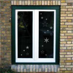 Aufkleber Fenster Deko, Vögel Sterne Schneeflocken, weiß schwarz silber gold