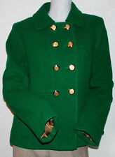 NWT Women's Ann Taylor Loft Peacoat 10 Wool Fully Lined Signature Buttons Green