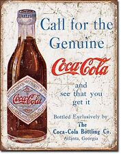 Insegna metallo 'Coca Cola Call For The Genuine..' (de)