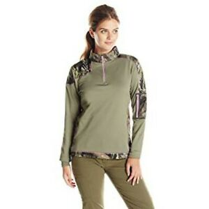 NEW PRICING, WOMEN'S 1/4 ZIP MOSSY OAK BASELAYER MID WEIGHT, SIZE MED.