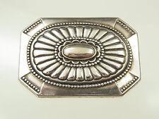 Bella Art-Deco gürtelschliesse metallo argentato geometricamente decorato del 1930
