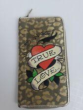 """Metallic True Love Heart Classic Ed Hardy Wallet Gold Leopard Print Zip  7.5"""""""
