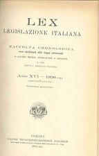 LEX - LEGISLAZIONE ITALIANA - 1930 - GENNAIO-GIUGNO