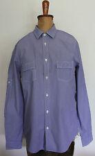 BEN SHERMAN ~ Inky Blue & White Pinstriped Long Sleeve Casual Cotton Shirt ~ S
