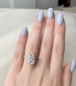 3Ct Emerald Cut VVS1/D Diamond Solitaire Engagement Ring 14K White Gold Finish.