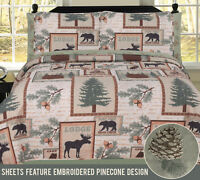 Twin, Full, Queen or King Elk Bear Rustic Lodge Cabin Quilt and Sheet Bed Set