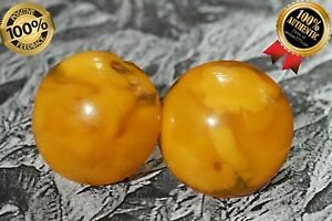 ANTIQUE AUTHENTIC NATURAL BALTIC AMBER RICH COLOR CLASS EARRINGS 7 GRAMS