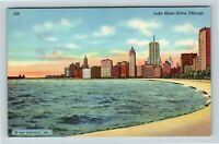 Chicago IL, Lake Shore Drive, Beach, Skyscrapers, Linen, Illinois Postcard