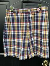 Nautica Clipper Shorts Size 32 Relaxed For Casual Dress-flat Front Plaid  ECU