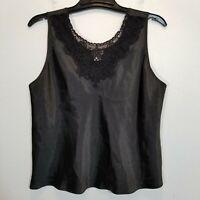 CINEMA ETOILE Womens Black Satin Polyester Camisole Size 1X Soft Lingerie Cami