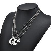Big Middle Little Sister Heart Pendant Best Friends Chain Necklace Jewelry 3PCS