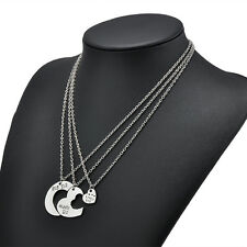 Big Middle Little Sister Heart Pendant Necklace Chain Jewelry Best Friends Gift