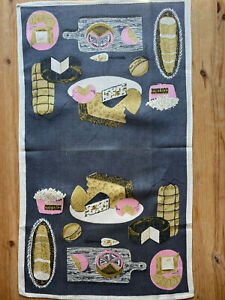 Vintage Linen Tea Towel Pink Gray Cheeses 60s 70s signed Mariann Meadows