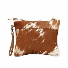 Myra Bag Jazzy Upcycled Canvas /& Cowhide Messenger Bag S-1298