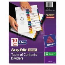 Avery Ready Index Customizable Table of Contents, Asst Dividers, 10-Tab, Ltr ...