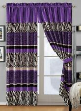4Pc Dark Purple Black Animal Print Safari Velvet Drapes/Window Panels Curtain Se