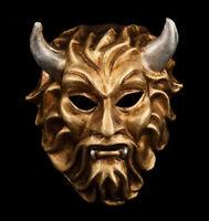 Maschera Di Venezia Diavolo Dorata E Argentato Carnevale Veneziano 1025 -voa