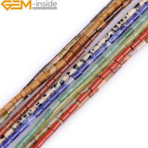"Natural Assorted Gemsone Beads Tube Column Spacer Beads Jewelry Making 15"" 2x4mm"