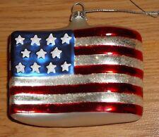 "Patriotic AMERICAN FLAG Glass Christmas Ornament 4"" x 2.5"""