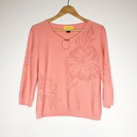 ST. JOHN Womens Coral Knit Sweater Top Womens Size Small Wool Blend