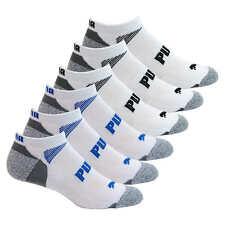 Puma Men's No Show 6-pair Sock White/Gray Regular Size (Shoe Size 6-12)