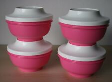 Tupperware Oriental Rice Bowl Pedestal Rice Soup Set (4) Pink New