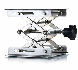 "lab Stainless Steel Lab Jack 4""(10cm)x4""(10cm)Scissor Stand lifting table new"