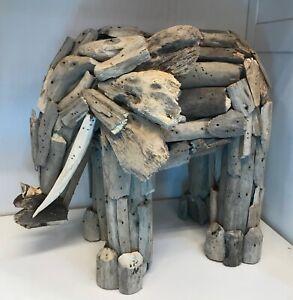 Driftwood Elephant Handmade statue ornament figure Natural Wood 3D standing